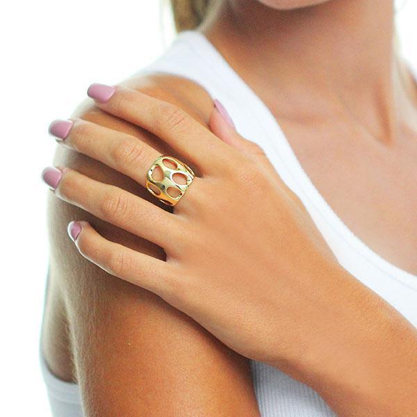 anel largo formas liso dourado