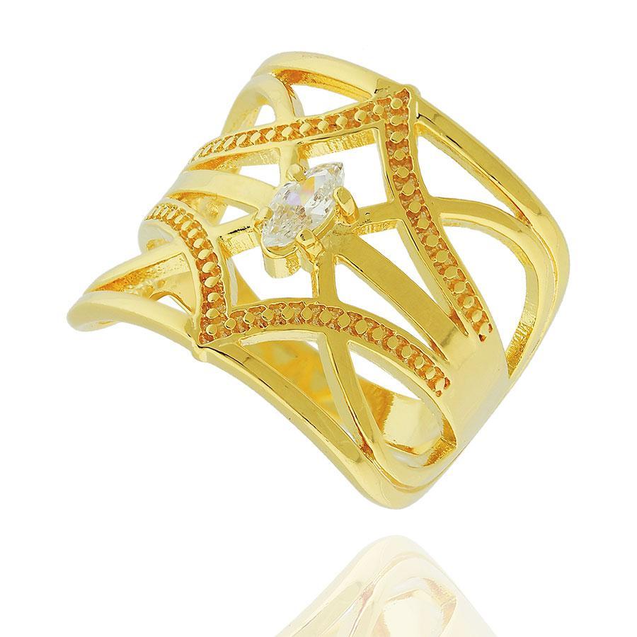 anel largo indiano zircônia dourado