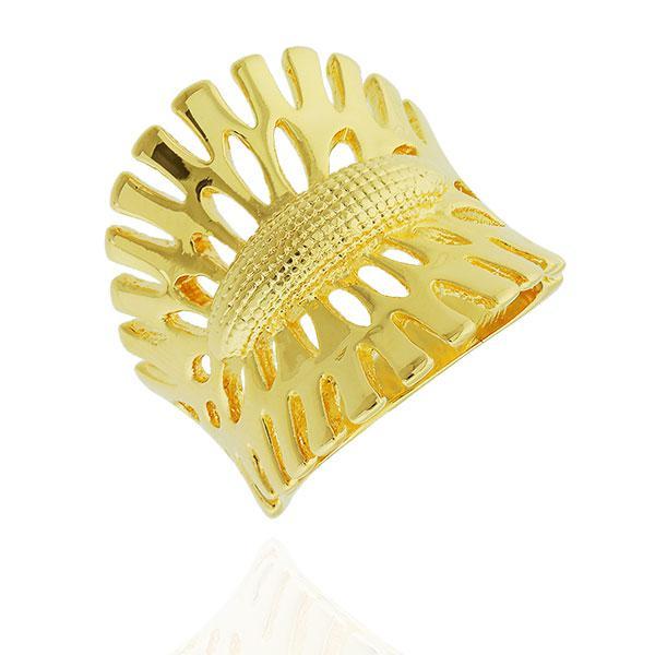 anel largo nature dourado