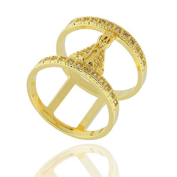 anel largo Nossa Senhora cravejado zircônias dourado