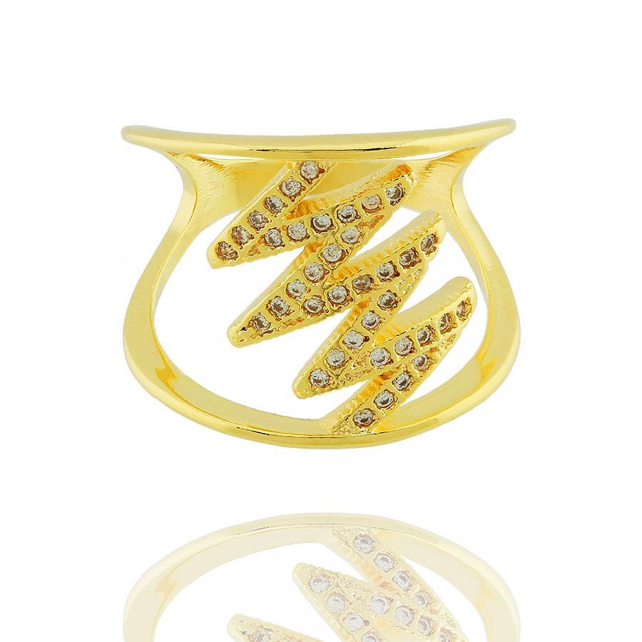 anel largo raio zircônias dourado