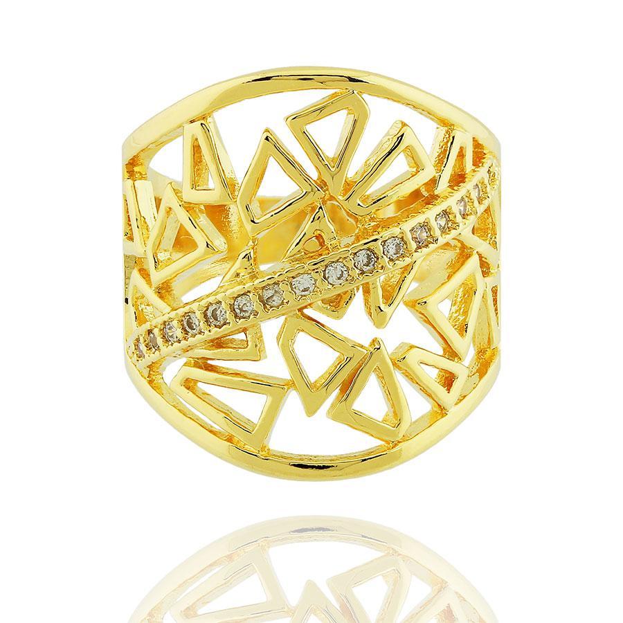anel largo triângulos zircônias dourado