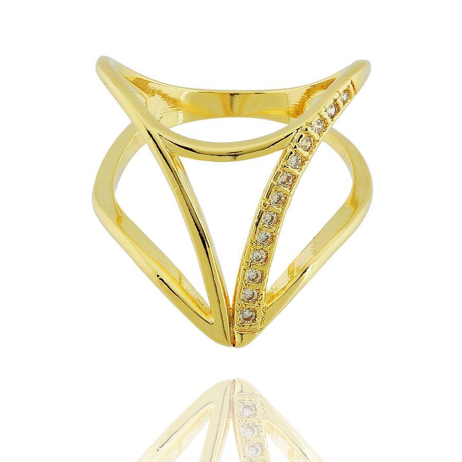anel largo V zircônias dourado