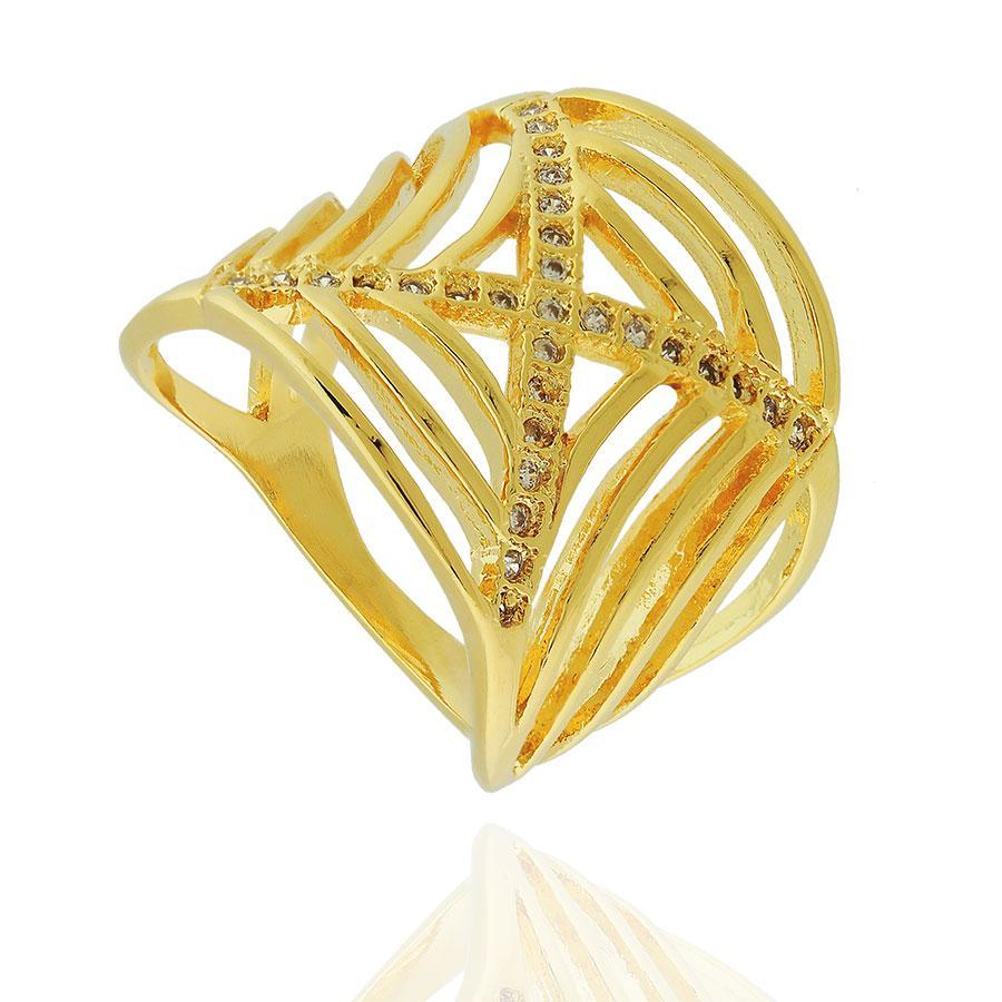 anel largo X zircônias dourado