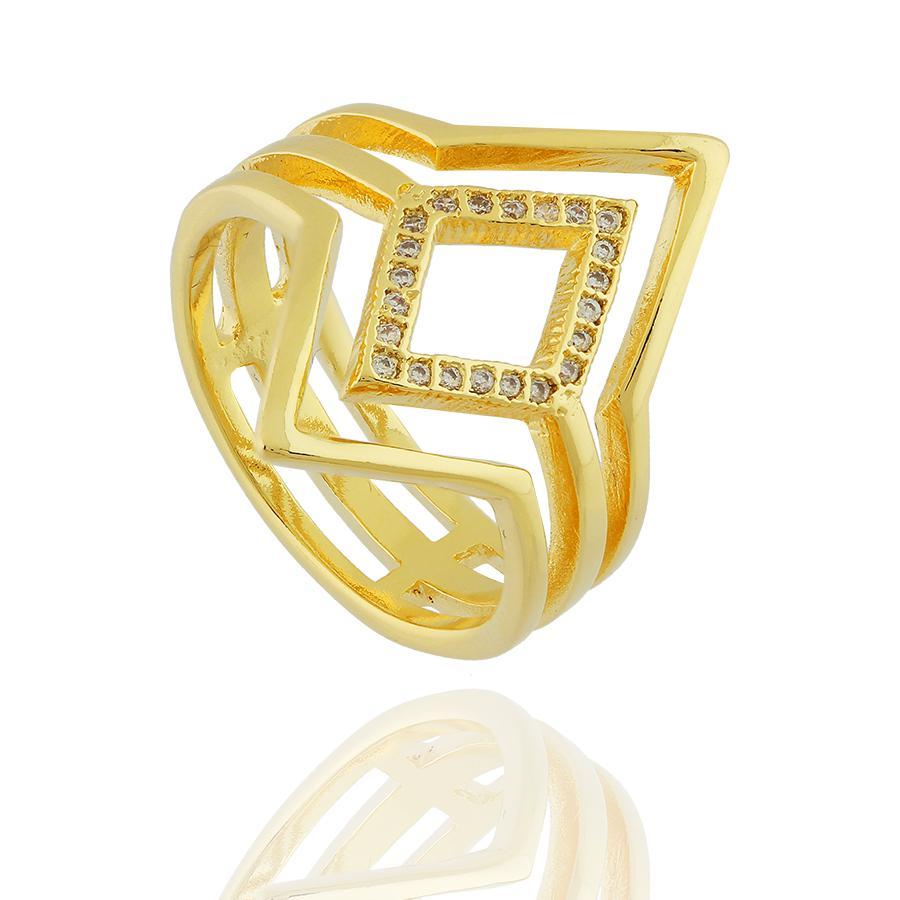 anel losango 3 aros zircônias dourado