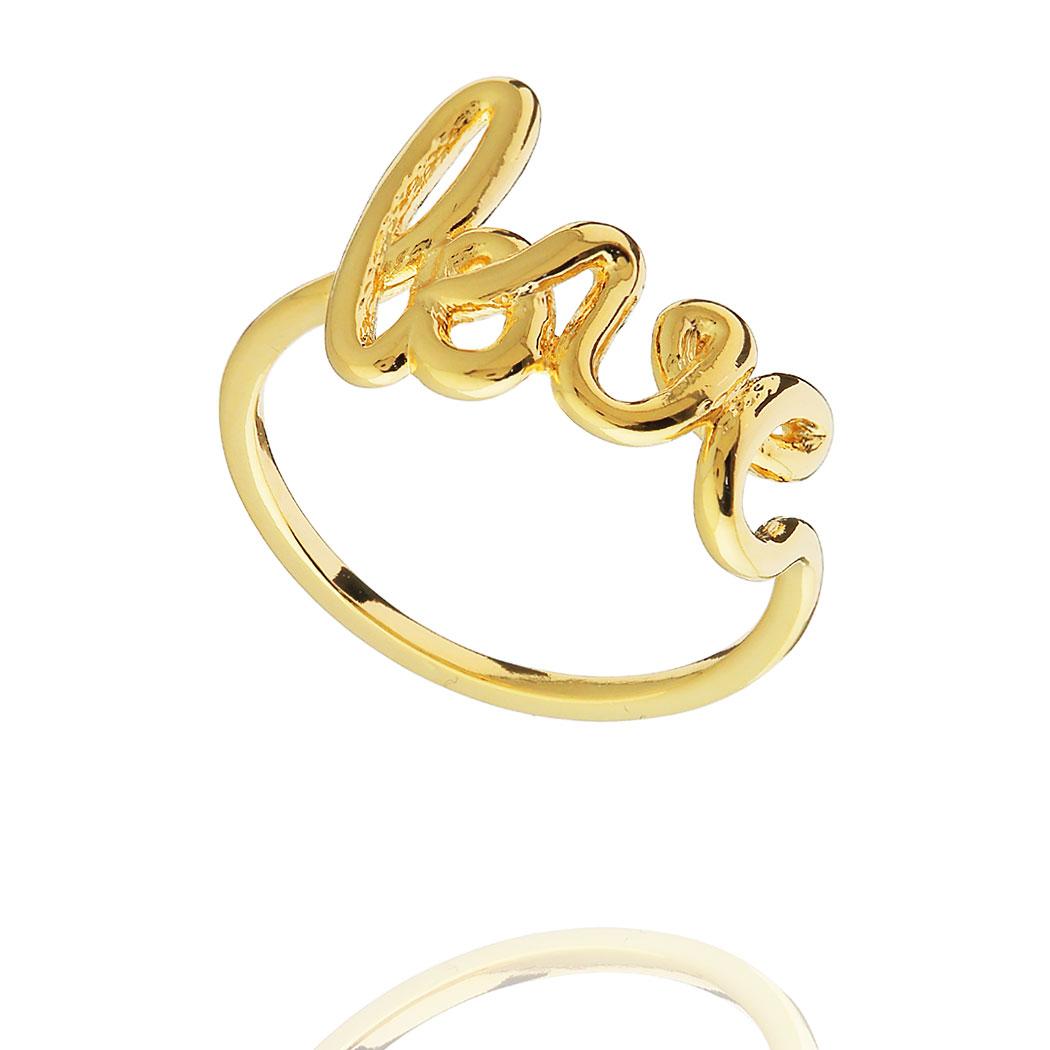 anel love liso delicado dourado