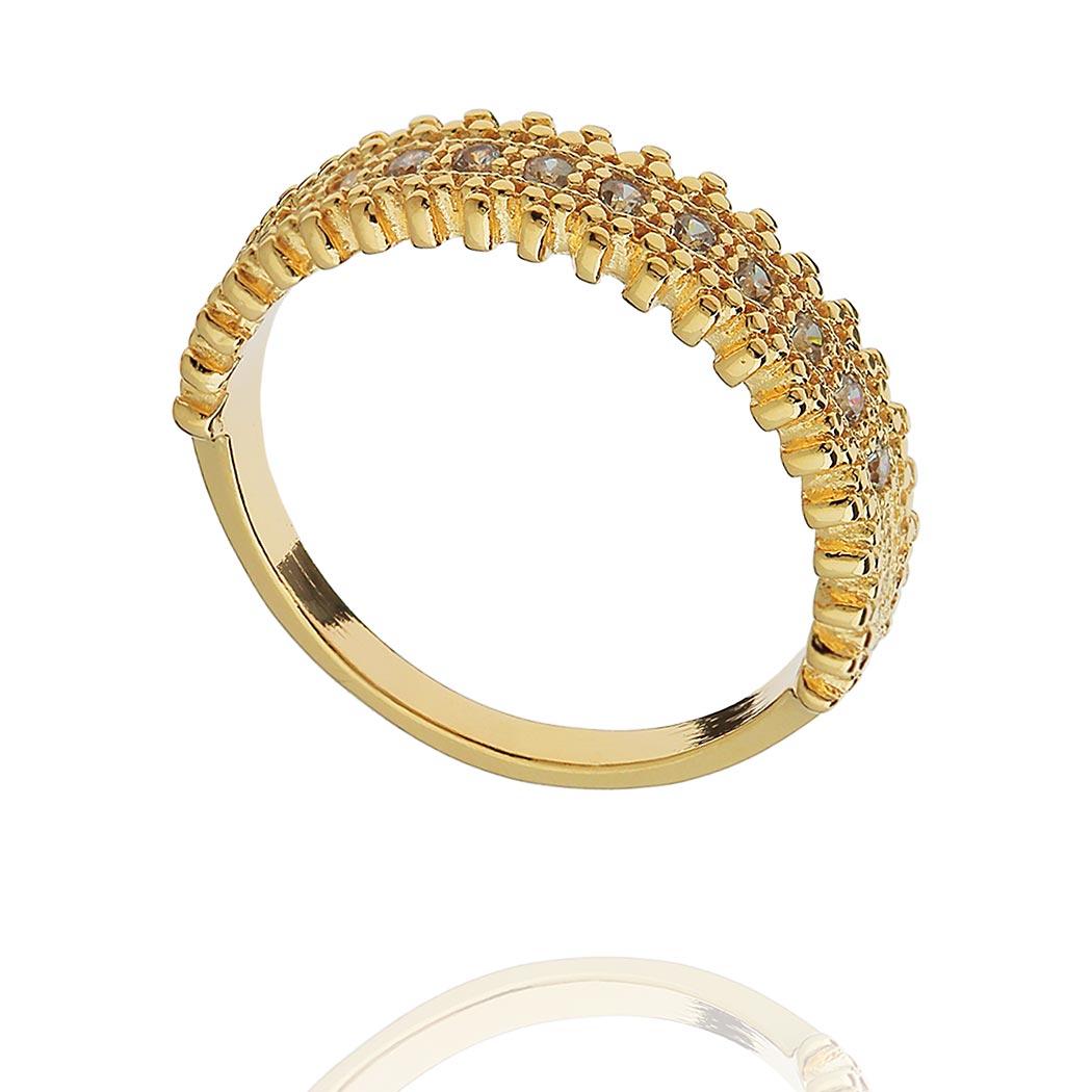 anel meia aliança zircônias bolinhas dourado