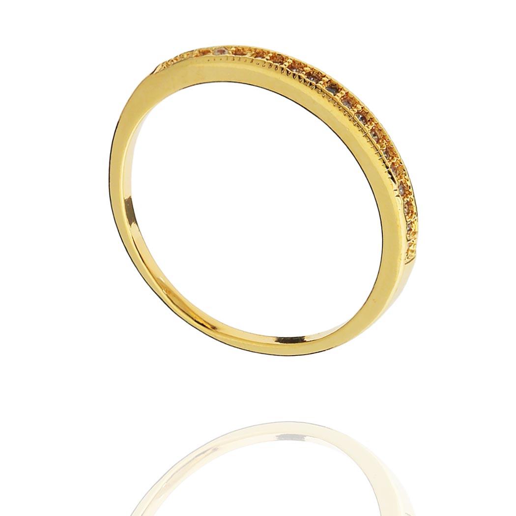 anel meia aliança zircônias fino dourado