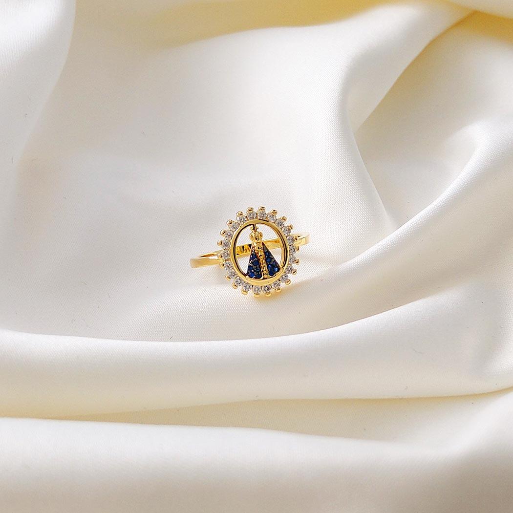 anel nossa senhora aparecida zircônia dourado