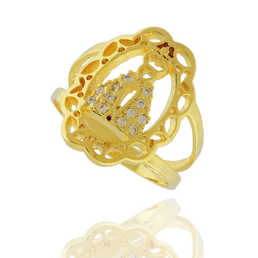 anel nossa senhora zircônia dourado