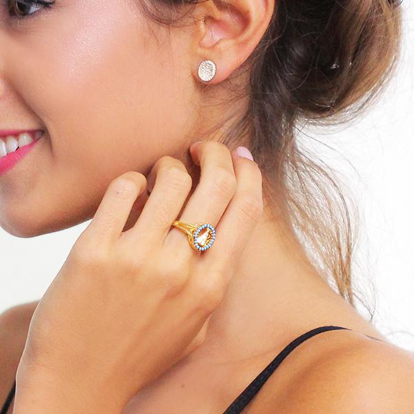 anel Nossa Senhora zircônia turquesa dourado