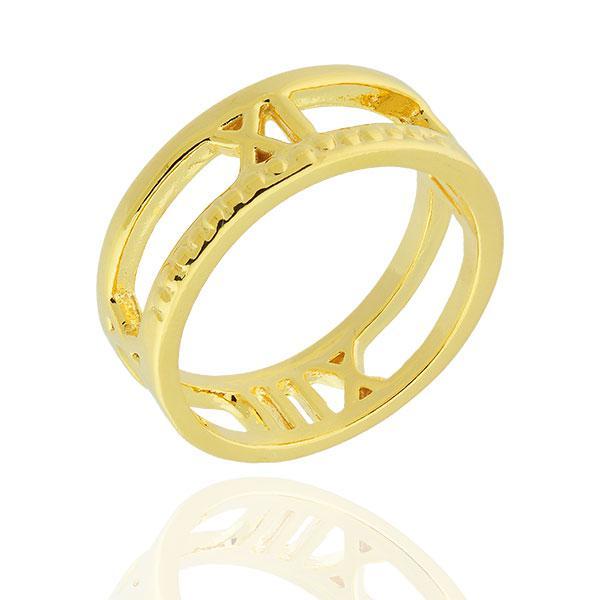 anel números romanos dourado