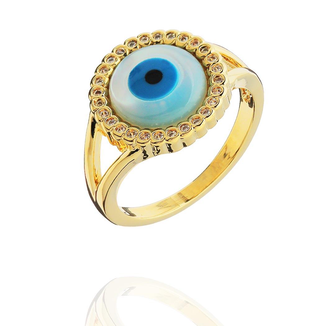 anel olho grego madrepérola zircônias dourado
