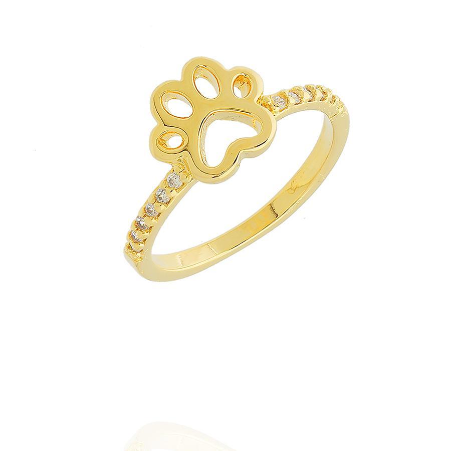 anel patinha pet zircônias dourado