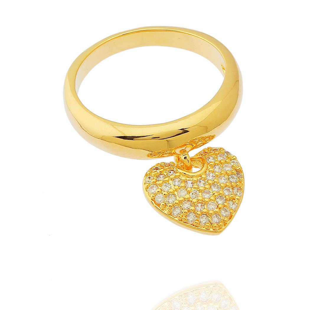 anel pingente coração zircônia dourado