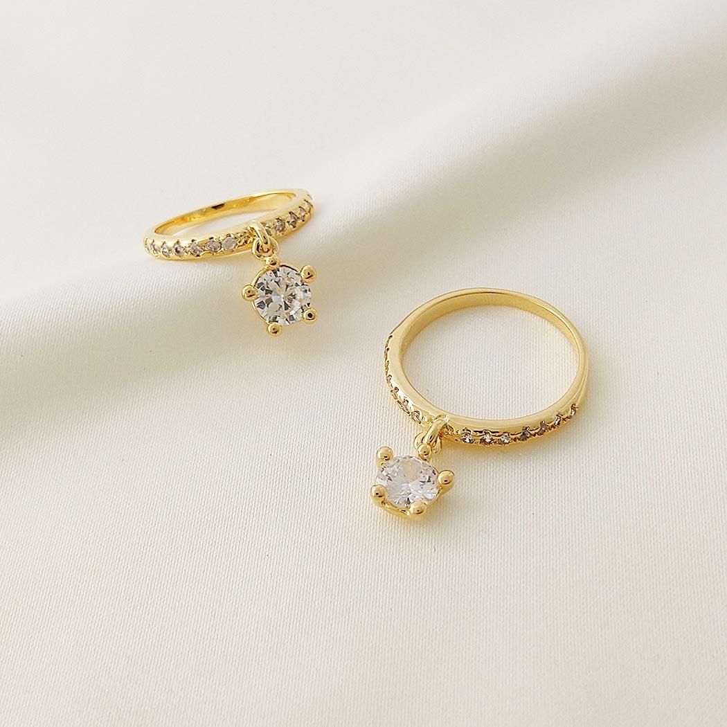 anel pingente zircônia dourado