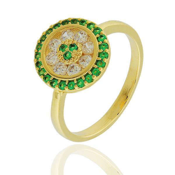 anel pizza zirconia esmeralda dourado
