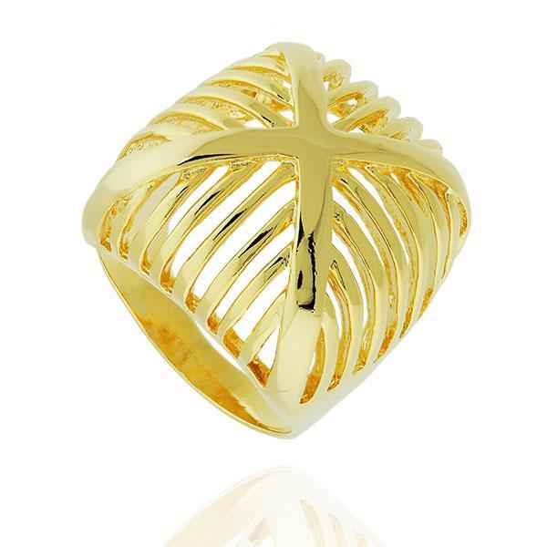 anel quadrado convexo faixas X dourado
