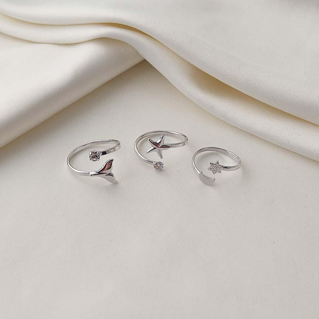 anel regulável estrela do mar ródio claro