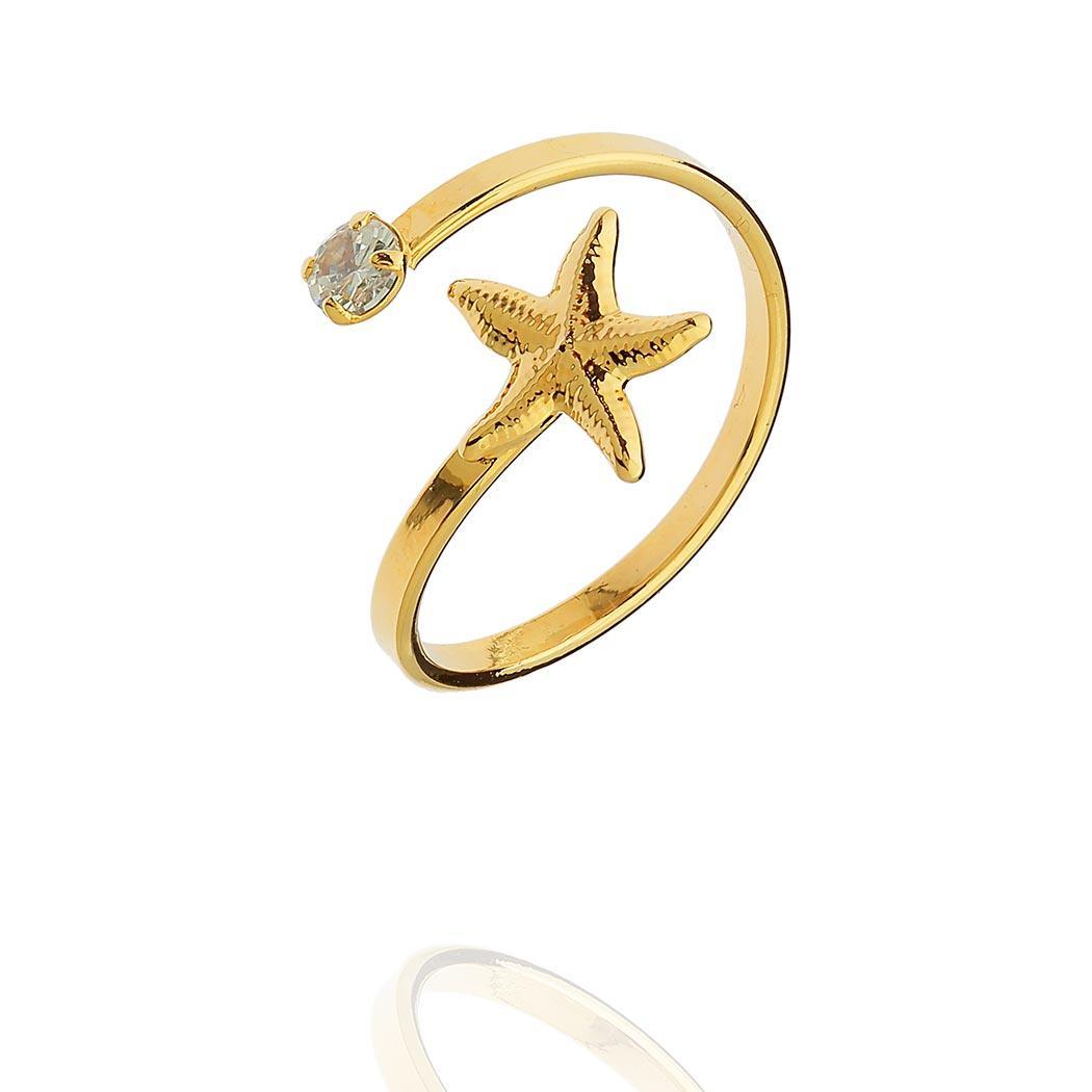 anel regulável falange estrela do mar dourado