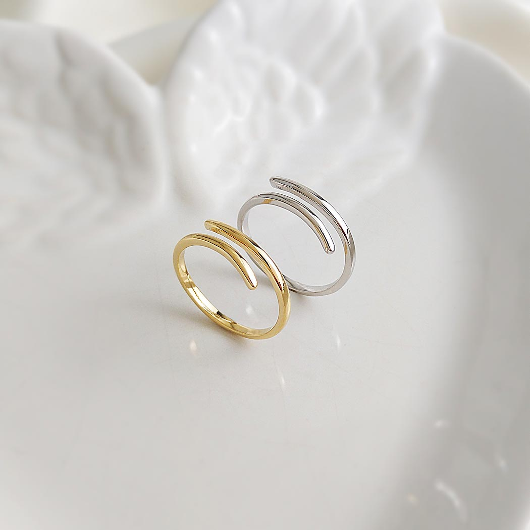 anel regulável liso curvas ródio claro