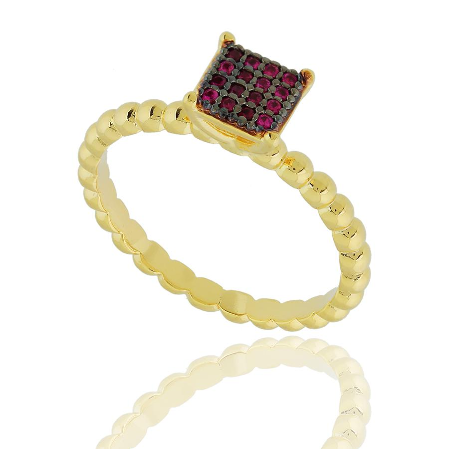 anel semijoia chuveiro quadrado zircônias rubi