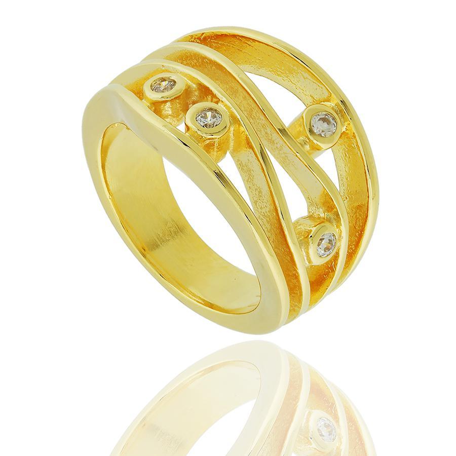 anel semijoia curvas zircônias dourado