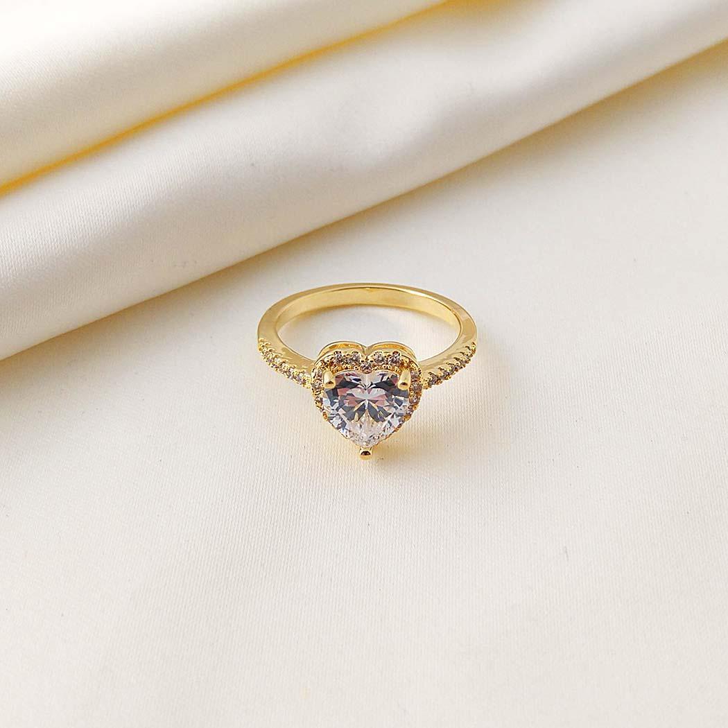 anel solitário coração dourado