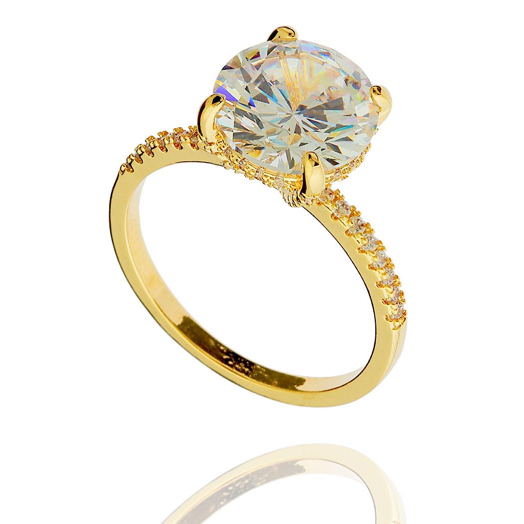 anel solitário grande zircônia dourado