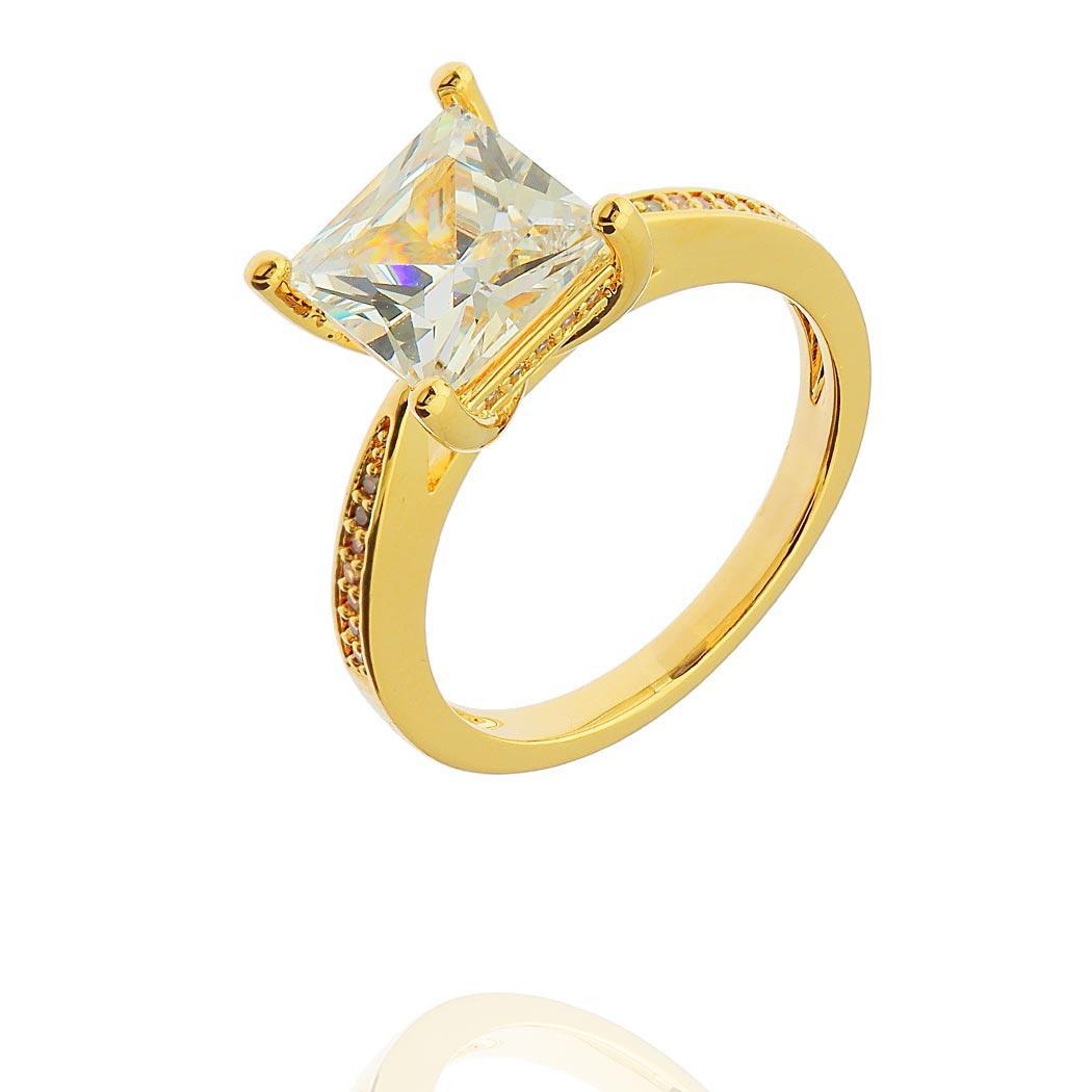 anel solitário quadrado dourado