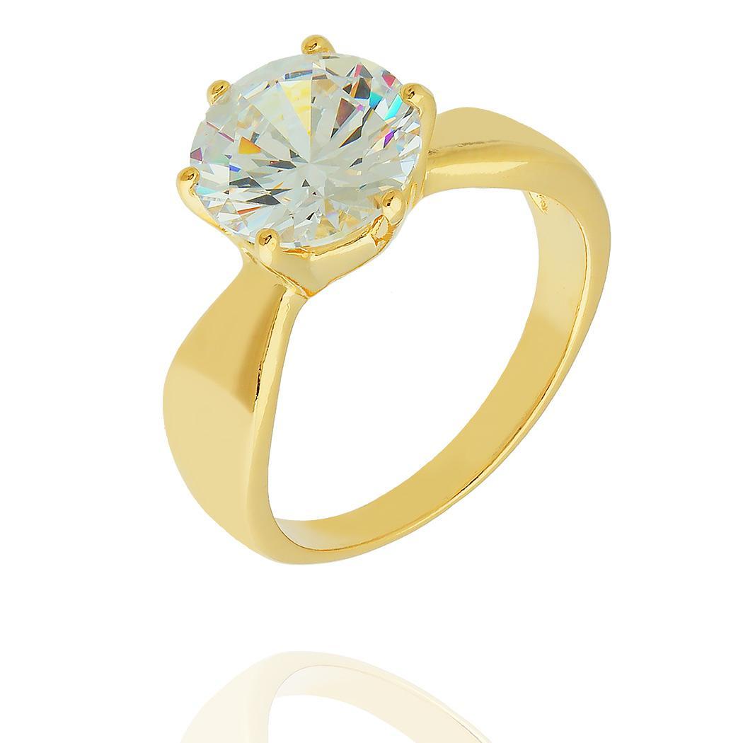anel solitário zircônia grande dourado