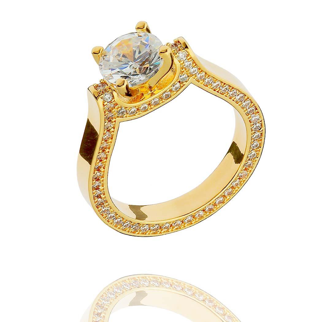anel solitário zircônia lateral dourado