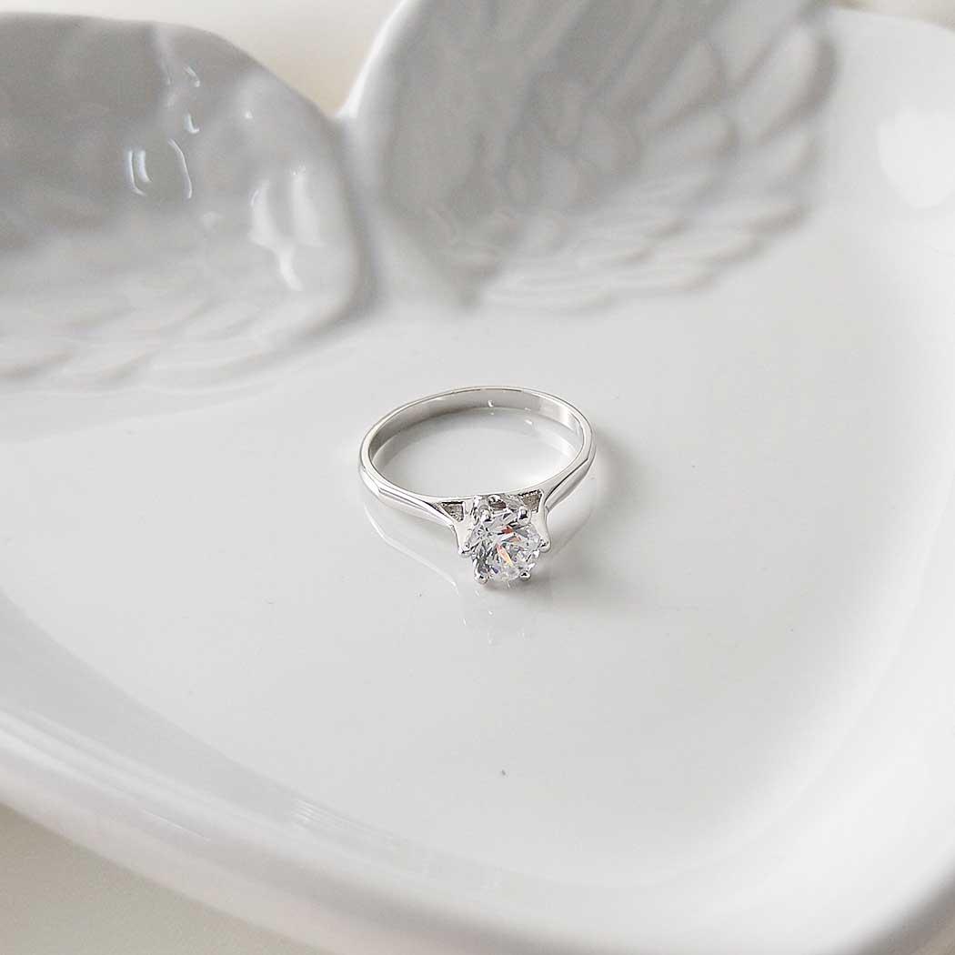 anel solitário zircônia ródio claro