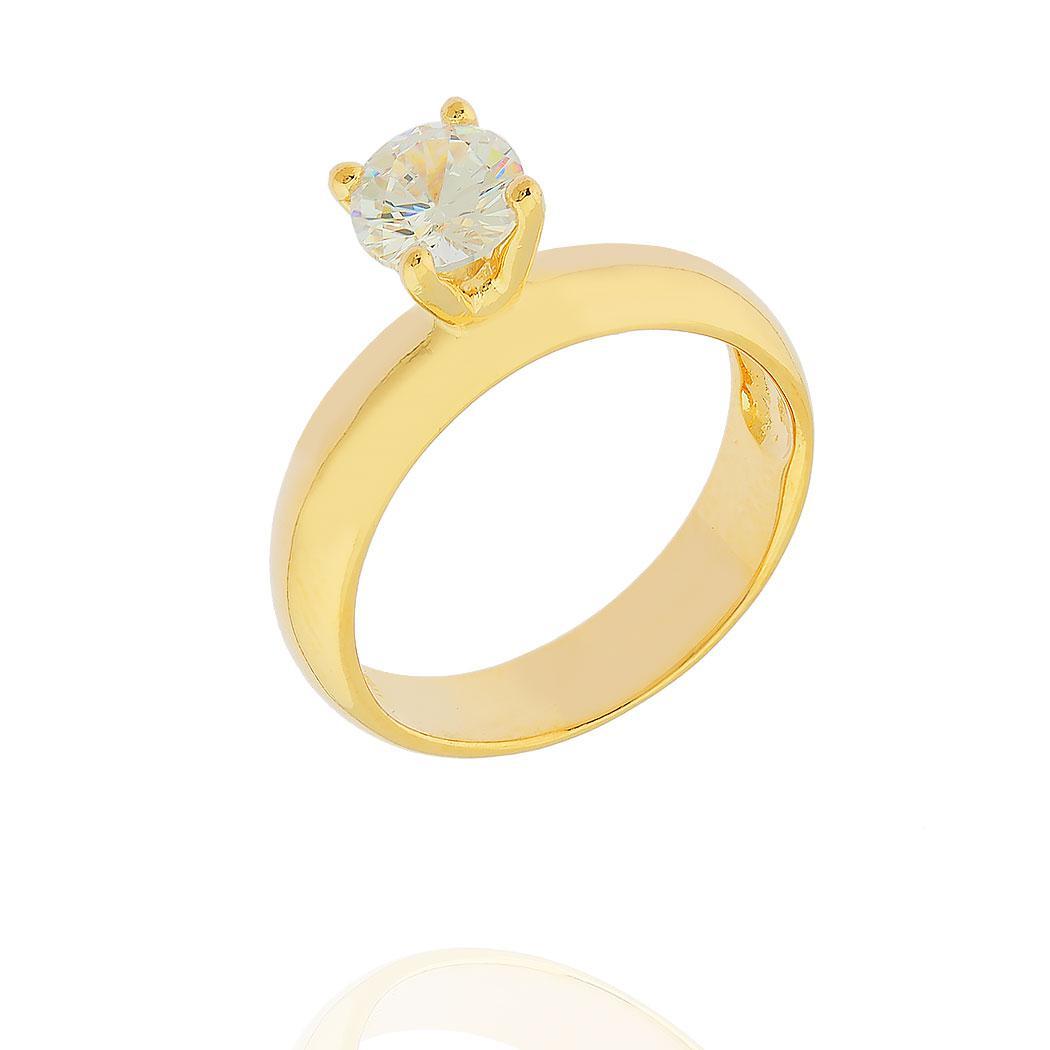 anel solitário zircônia dourado