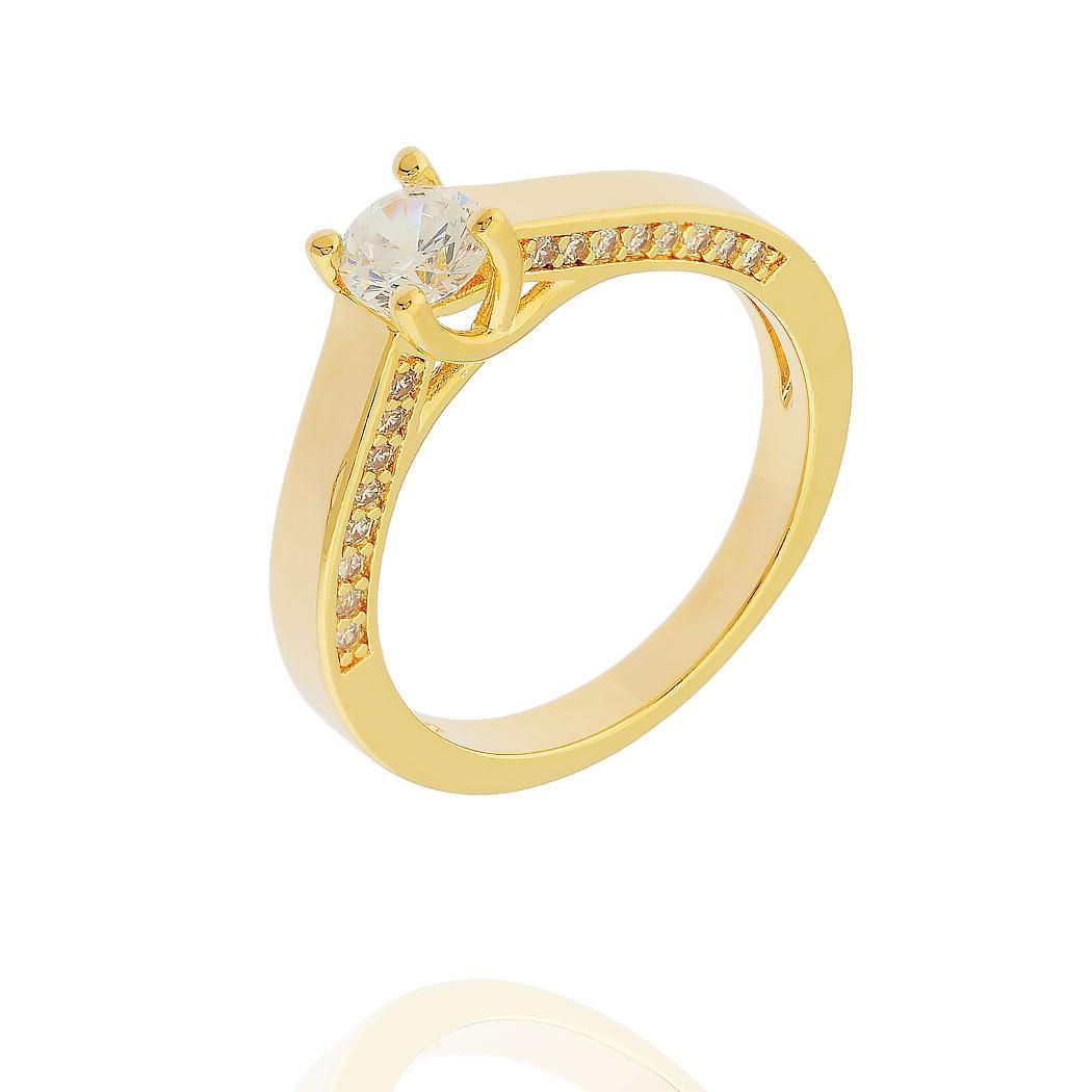 anel solitário zircônias lateral dourado