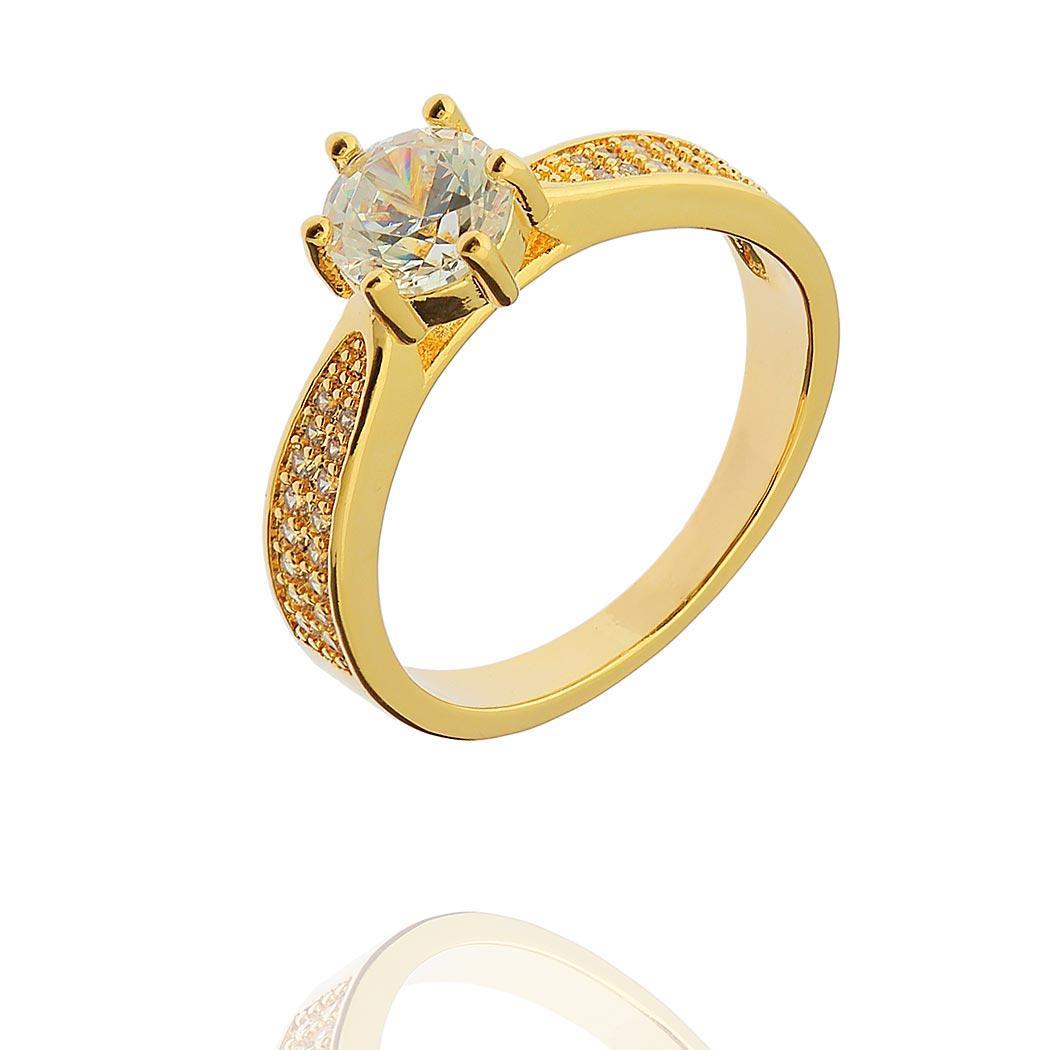 anel solitário zircônias dourado