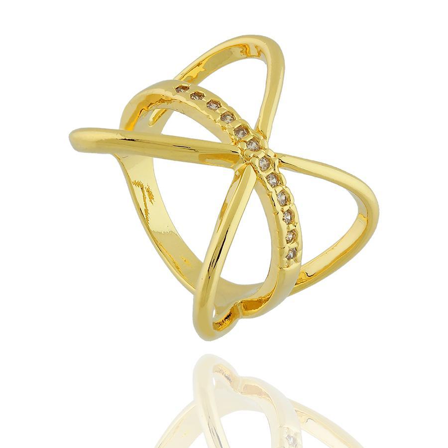 anel X faixa zircônias dourado