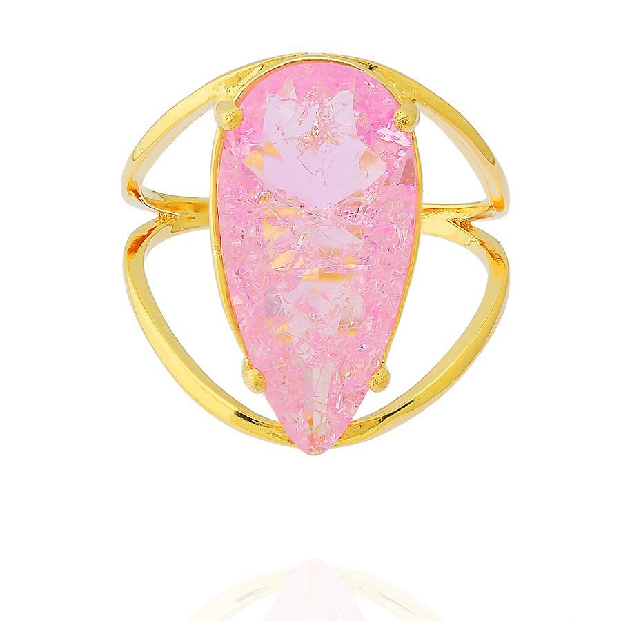 anel zircônia fusion rosa gota dourado