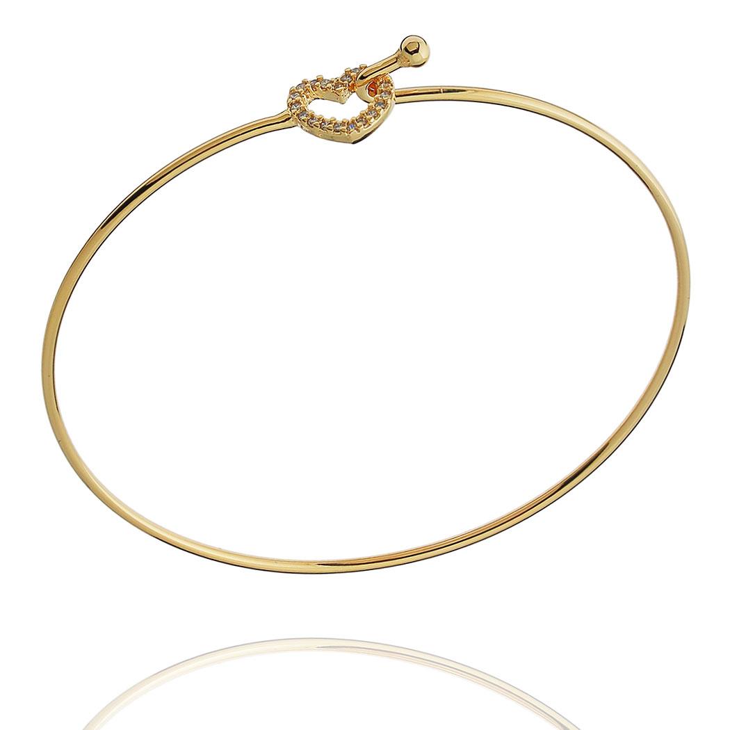 bracelete coração cravejado rígido dourado