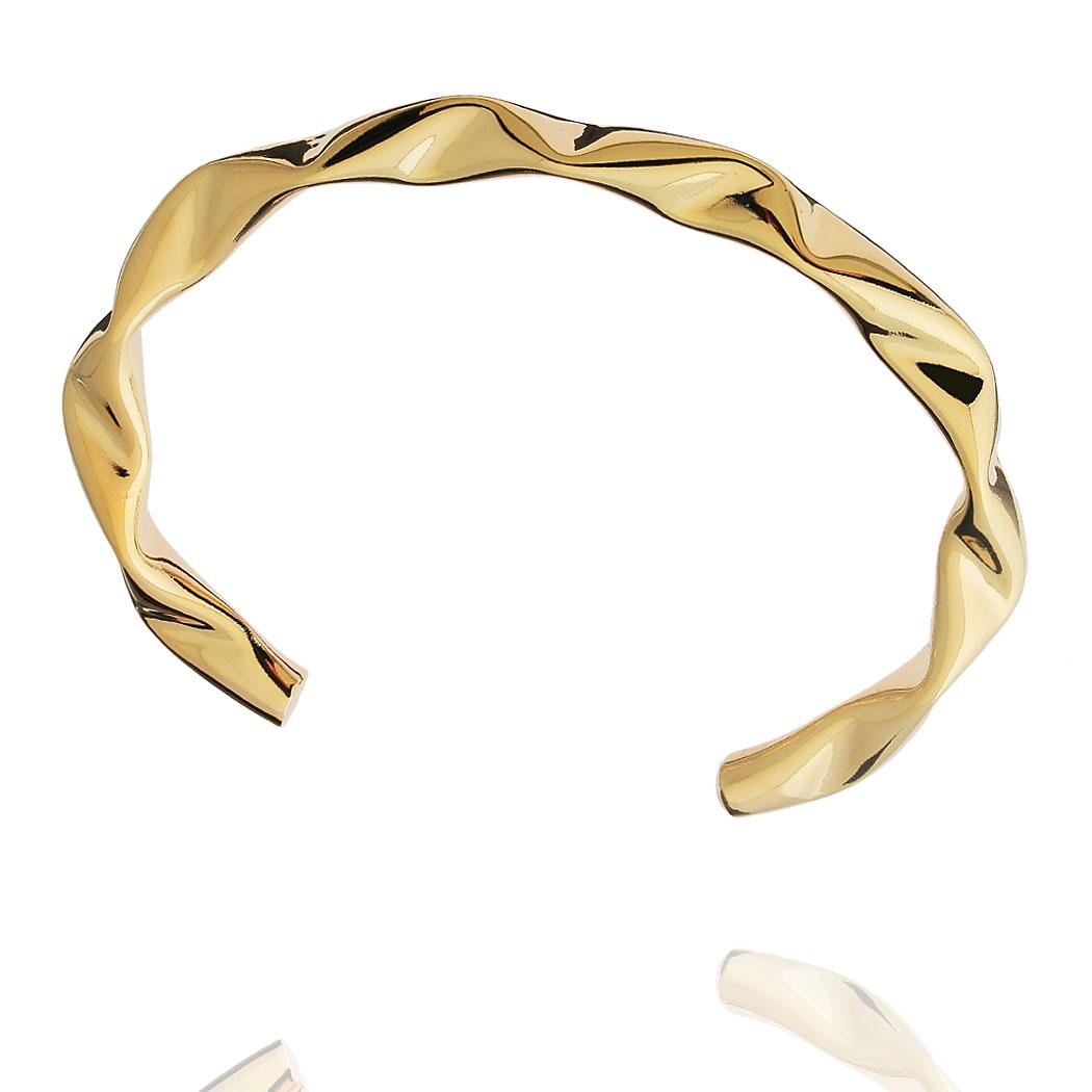 bracelete ondas liso dourado
