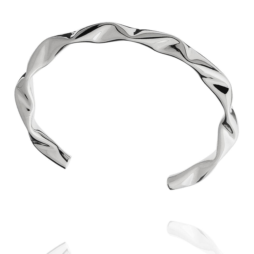 bracelete ondas liso ródio claro