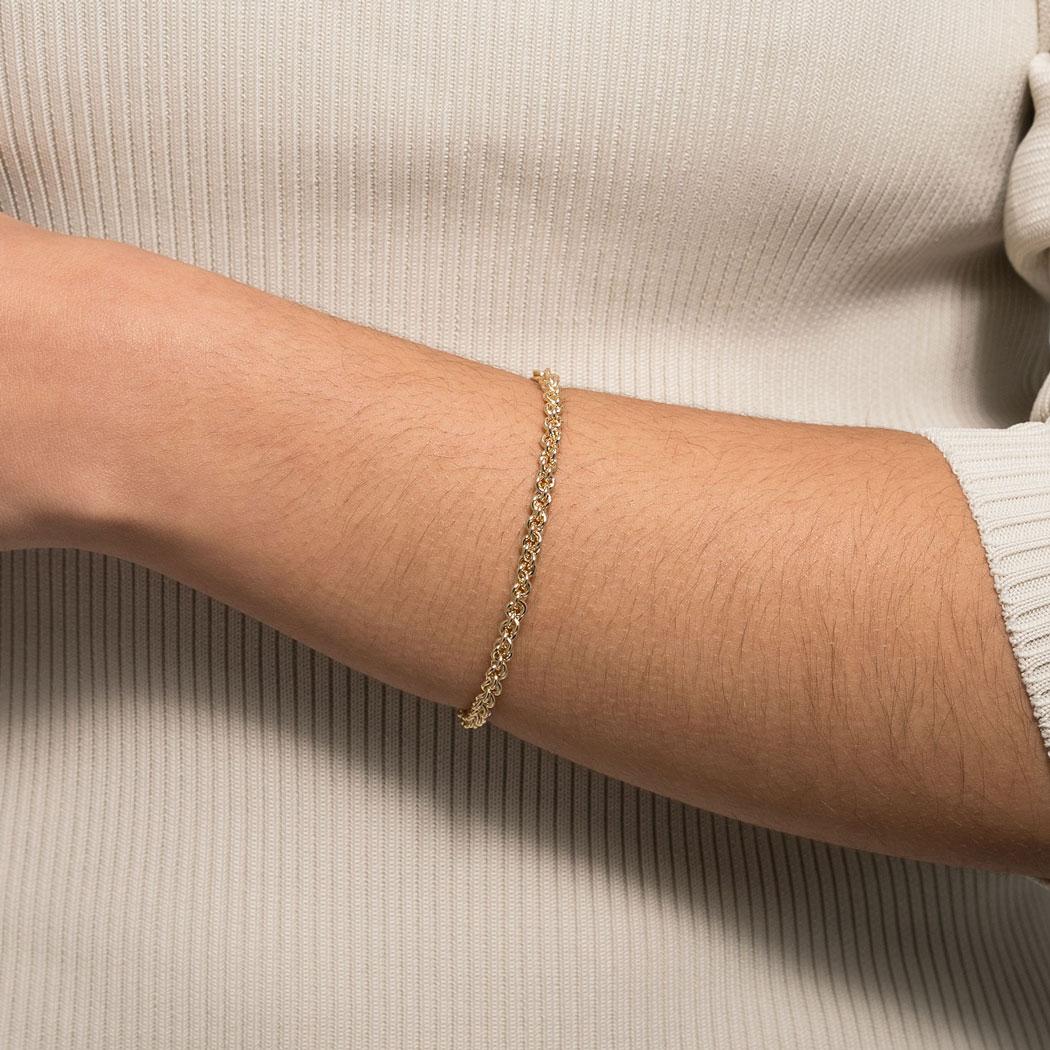 bracelete rígido corrente elos dourado