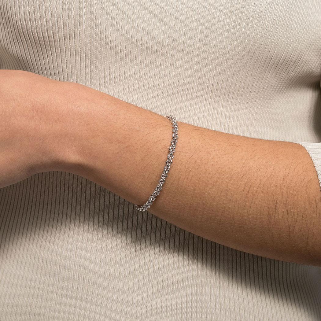 bracelete rígido corrente elos ródio claro