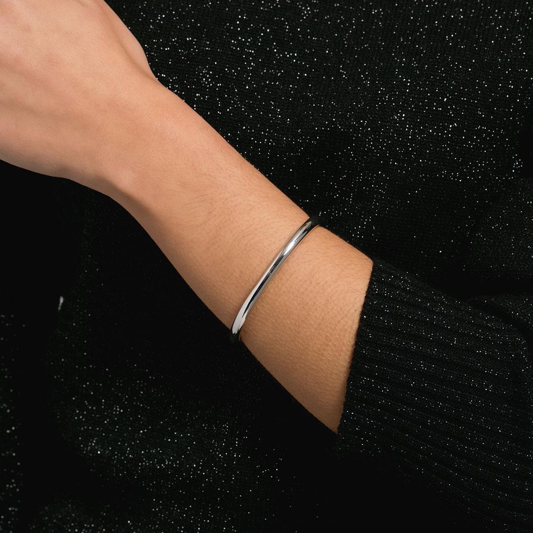 bracelete rígido liso ródio claro