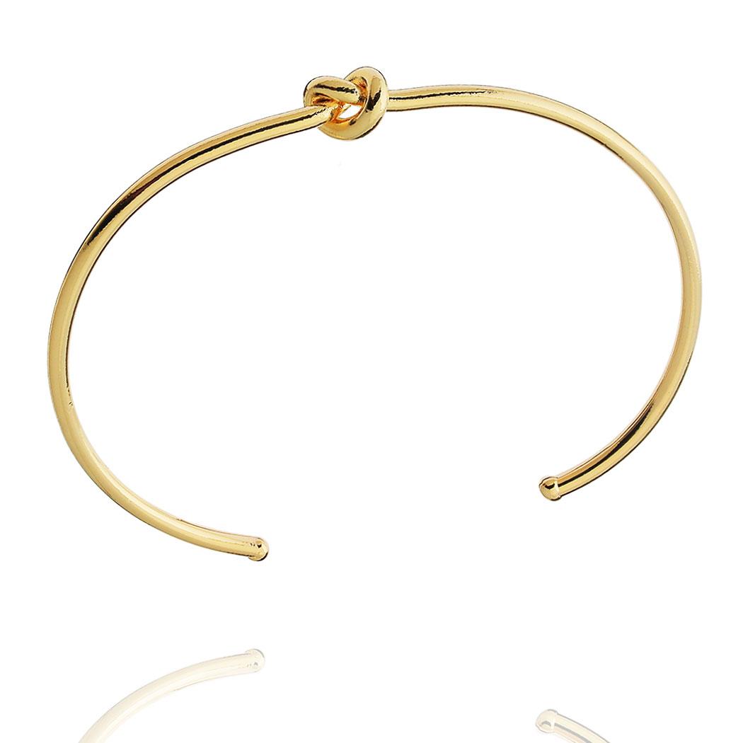 bracelete rígido nó liso regulável dourado