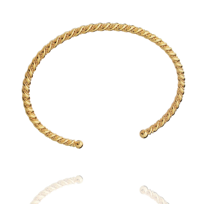 bracelete torcido rígido dourado