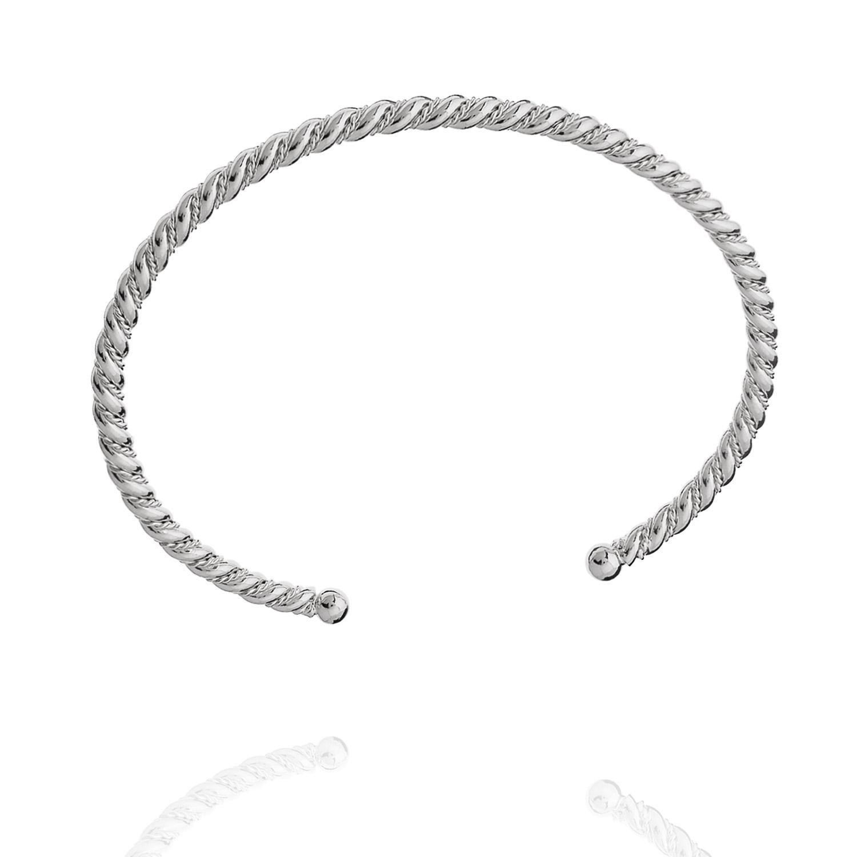 bracelete torcido rígido ródio claro