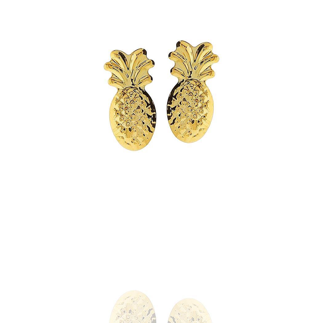 brinco abacaxi segundo furo dourado