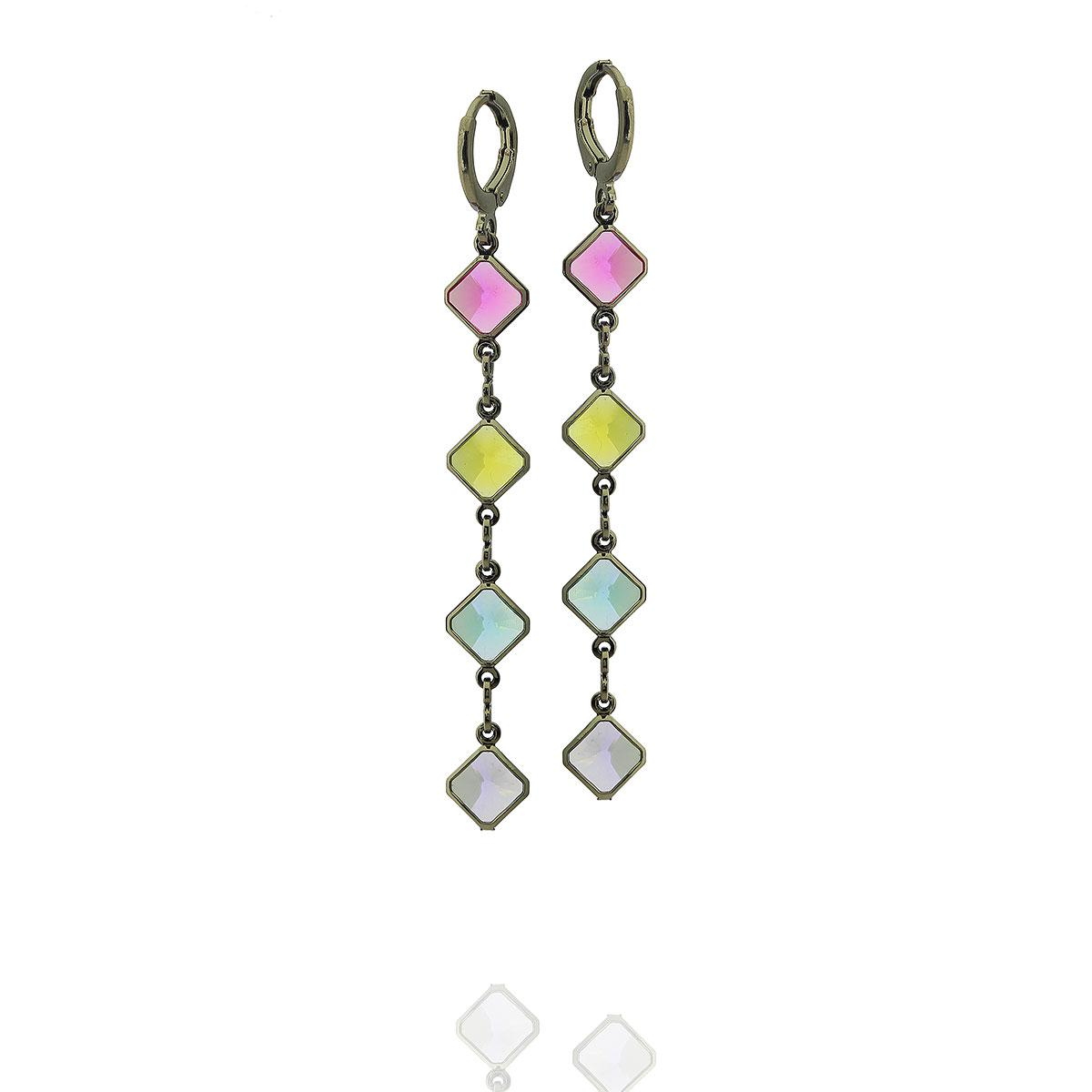 brinco argola aurora boreal pingentes cristais coloridos