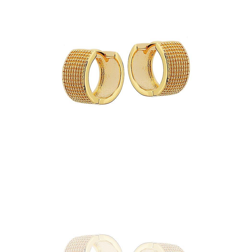 brinco argola bolinhas 15 mm dourado